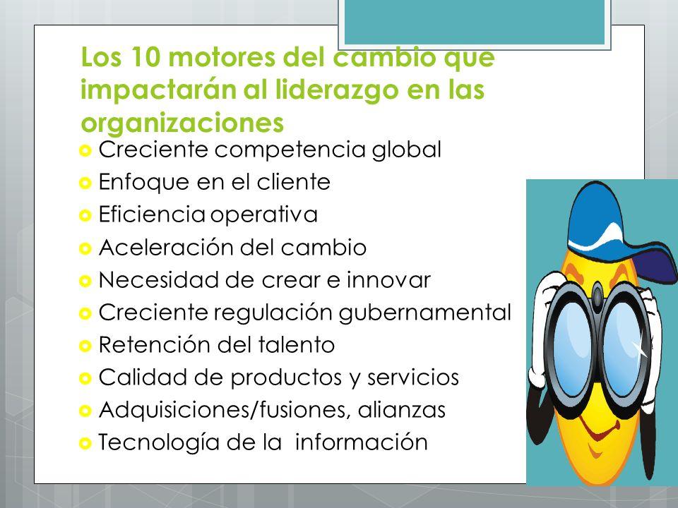 Los 10 motores del cambio que impactarán al liderazgo en las organizaciones Creciente competencia global Enfoque en el cliente Eficiencia operativa Ac
