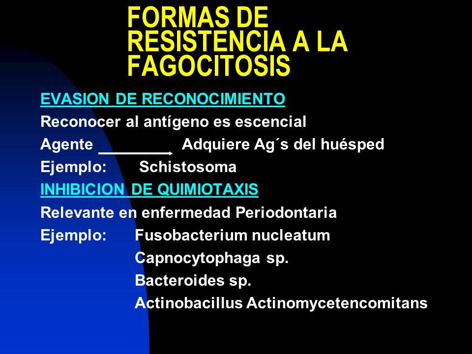 EVASION DE RECONOCIMIENTO Reconocer al antígeno es escencial AgenteAdquiere Ag´s del huésped Ejemplo: Schistosoma INHIBICION DE QUIMIOTAXIS Relevante