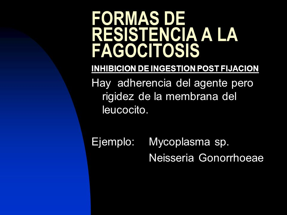 FORMAS DE RESISTENCIA A LA FAGOCITOSIS INHIBICION DE INGESTION POST FIJACION Hay adherencia del agente pero rigidez de la membrana del leucocito. Ejem