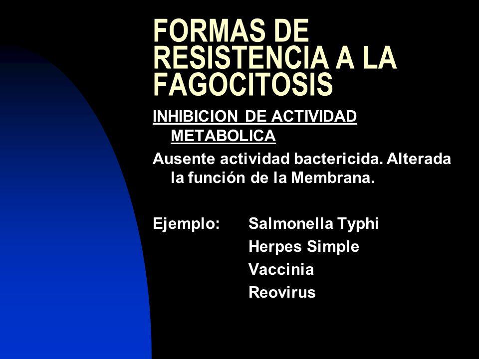 FORMAS DE RESISTENCIA A LA FAGOCITOSIS INHIBICION DE ACTIVIDAD METABOLICA Ausente actividad bactericida. Alterada la función de la Membrana. Ejemplo:S