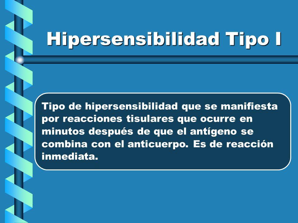 Hipersensibilidad Tipo I Tipo de hipersensibilidad que se manifiesta por reacciones tisulares que ocurre en minutos después de que el antígeno se comb