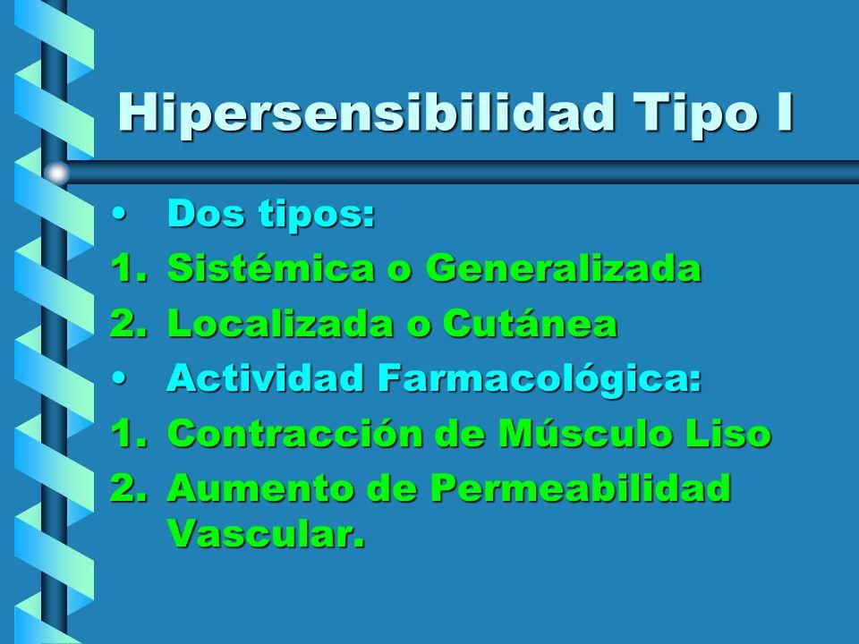 Hipersensibilidad Tipo I Dos tipos:Dos tipos: 1.Sistémica o Generalizada 2.Localizada o Cutánea Actividad Farmacológica:Actividad Farmacológica: 1.Con