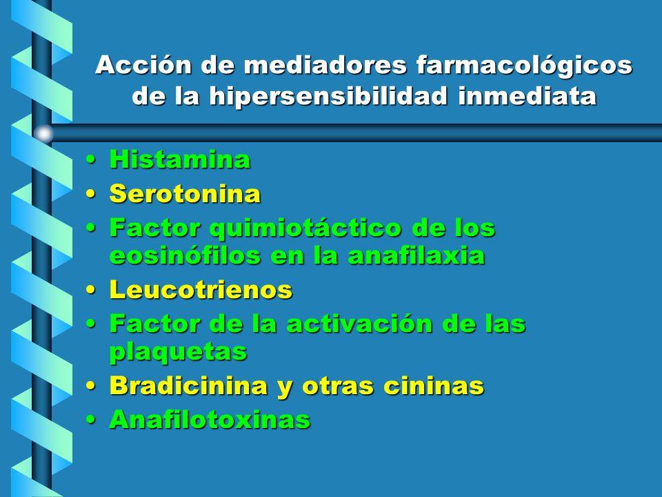 Acción de mediadores farmacológicos de la hipersensibilidad inmediata HistaminaHistamina SerotoninaSerotonina Factor quimiotáctico de los eosinófilos