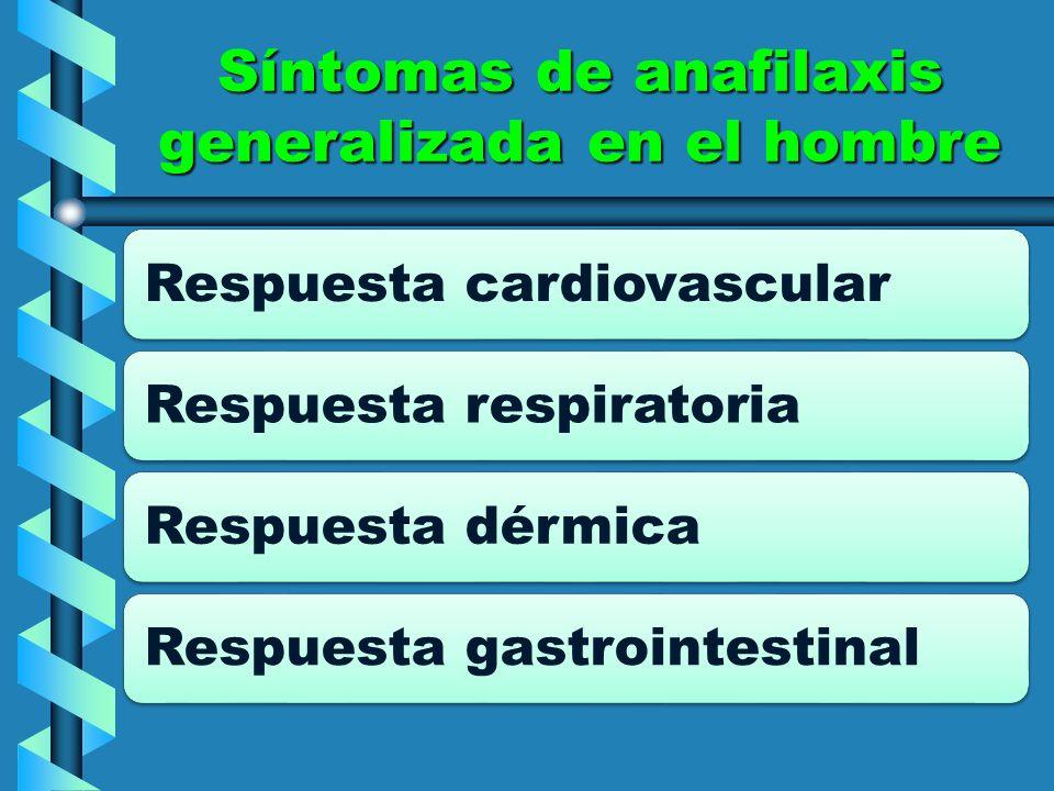 Síntomas de anafilaxis generalizada en el hombre Respuesta cardiovascularRespuesta respiratoriaRespuesta dérmicaRespuesta gastrointestinal