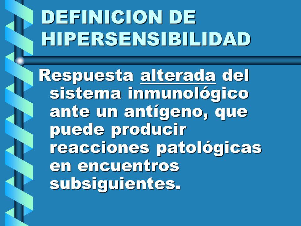 Hipersensibilidad Tipo I Tipo de hipersensibilidad que se manifiesta por reacciones tisulares que ocurre en minutos después de que el antígeno se combina con el anticuerpo.