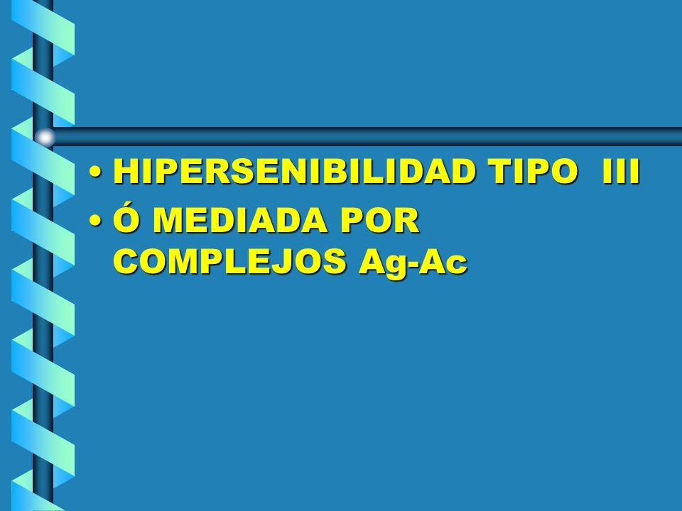 HIPERSENIBILIDAD TIPO IIIHIPERSENIBILIDAD TIPO III Ó MEDIADA POR COMPLEJOS Ag-AcÓ MEDIADA POR COMPLEJOS Ag-Ac