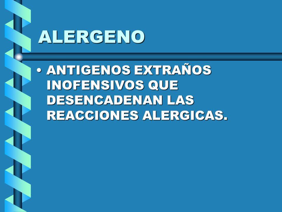 TIPOS DE ALERGENO AeroalergenosAeroalergenos Productos de ingestionProductos de ingestion Agentes de contactoAgentes de contacto Productos de inoculación o inyeccion.Productos de inoculación o inyeccion.