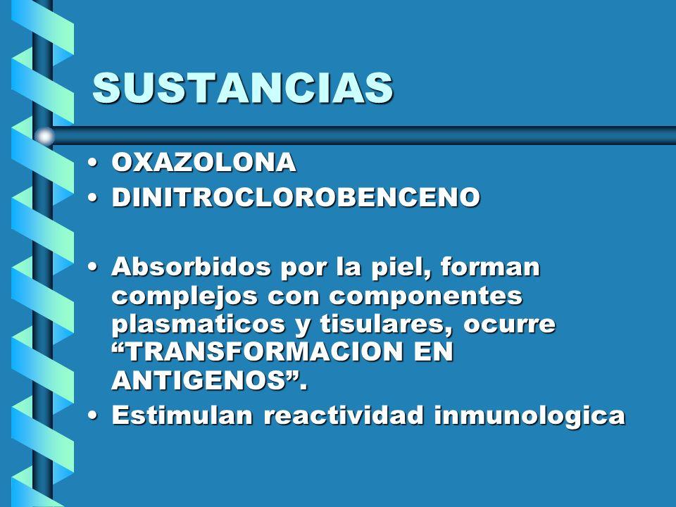SUSTANCIAS OXAZOLONAOXAZOLONA DINITROCLOROBENCENODINITROCLOROBENCENO Absorbidos por la piel, forman complejos con componentes plasmaticos y tisulares,
