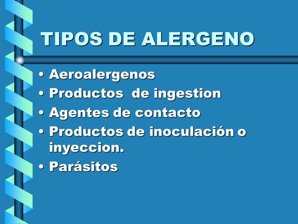 TIPOS DE ALERGENO AeroalergenosAeroalergenos Productos de ingestionProductos de ingestion Agentes de contactoAgentes de contacto Productos de inoculac