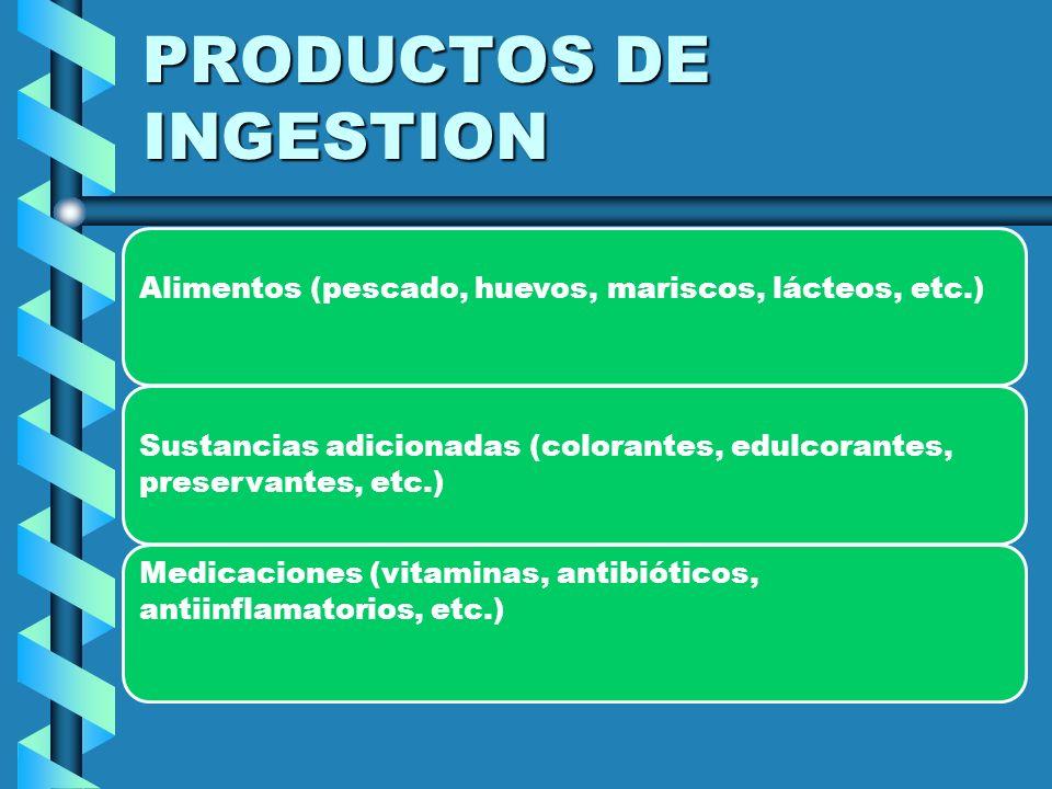 Alérgenos de contacto (pegamentos, metales, medicaciones tópicas, cosméticos, acrílicos, latex, etc.)Alérgenos de contacto (pegamentos, metales, medicaciones tópicas, cosméticos, acrílicos, latex, etc.) Productos de inoculación o inyección (antisueros, hormonas, anestésicos, materiales de contraste, etc.)Productos de inoculación o inyección (antisueros, hormonas, anestésicos, materiales de contraste, etc.) Parásitos (nematodes, cestodes, etc.)Parásitos (nematodes, cestodes, etc.)