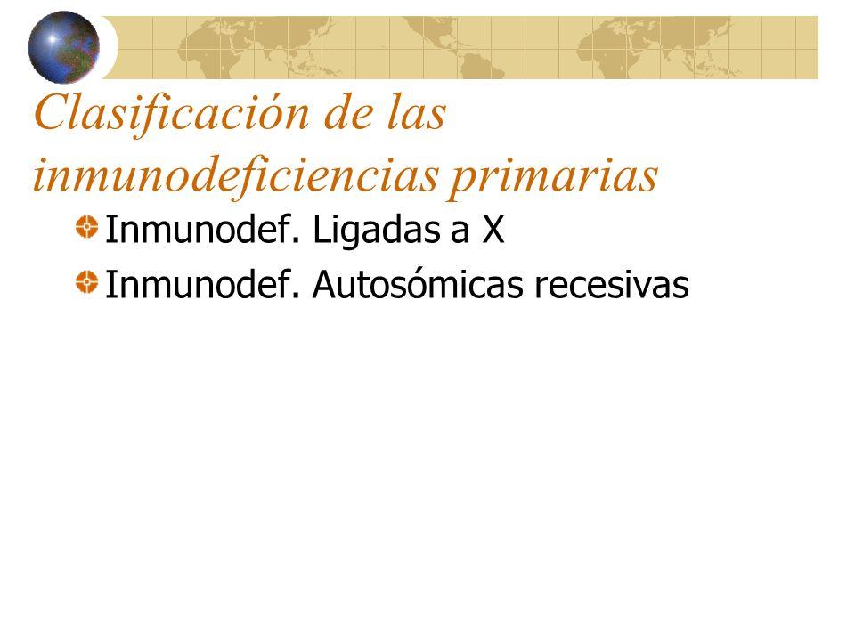 Clasificación de las inmunodeficiencias primarias Inmunodef. Ligadas a X Inmunodef. Autosómicas recesivas