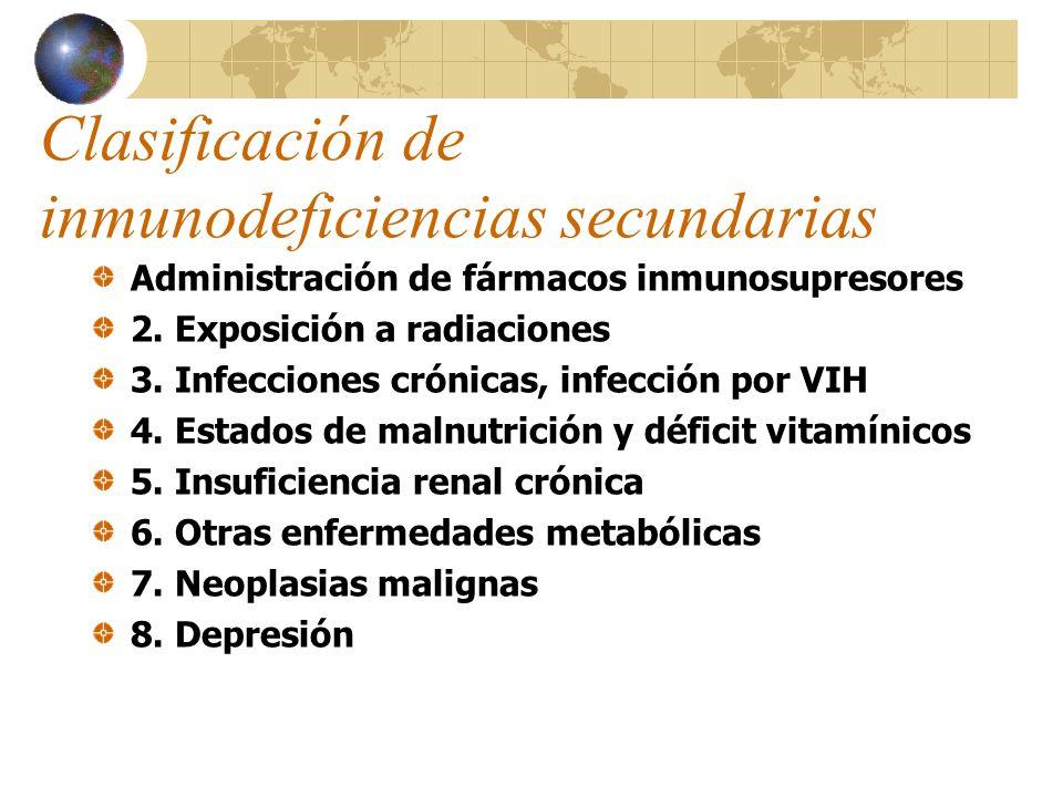 Clasificación de inmunodeficiencias secundarias Administración de fármacos inmunosupresores 2. Exposición a radiaciones 3. Infecciones crónicas, infec