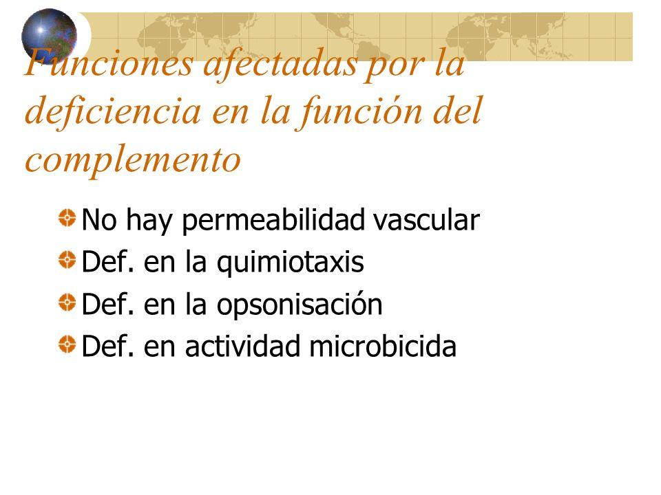 Funciones afectadas por la deficiencia en la función del complemento No hay permeabilidad vascular Def. en la quimiotaxis Def. en la opsonisación Def.