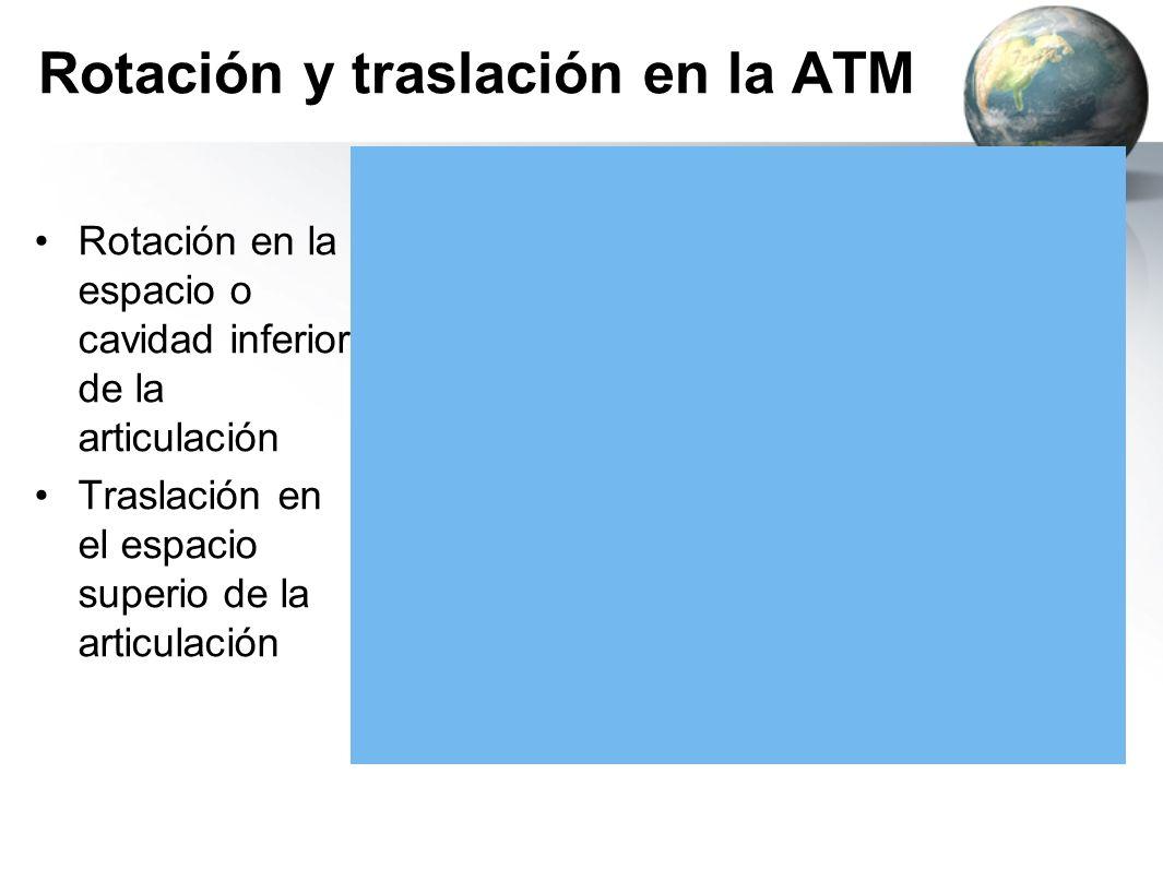 Rotación y traslación en la ATM Rotación en la espacio o cavidad inferior de la articulación Traslación en el espacio superio de la articulación