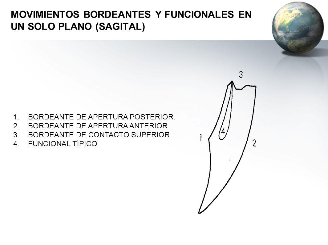 MOVIMIENTOS BORDEANTES Y FUNCIONALES EN UN SOLO PLANO (SAGITAL) 1.BORDEANTE DE APERTURA POSTERIOR. 2.BORDEANTE DE APERTURA ANTERIOR 3.BORDEANTE DE CON