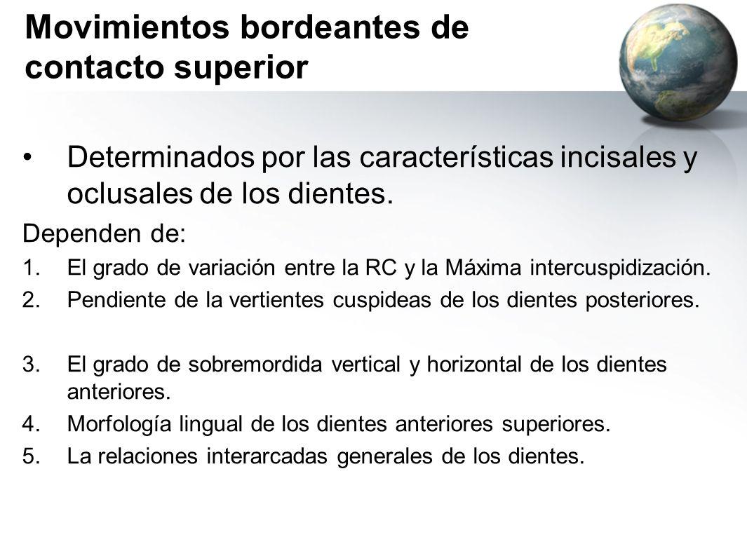 Movimientos bordeantes de contacto superior Determinados por las características incisales y oclusales de los dientes. Dependen de: 1.El grado de vari