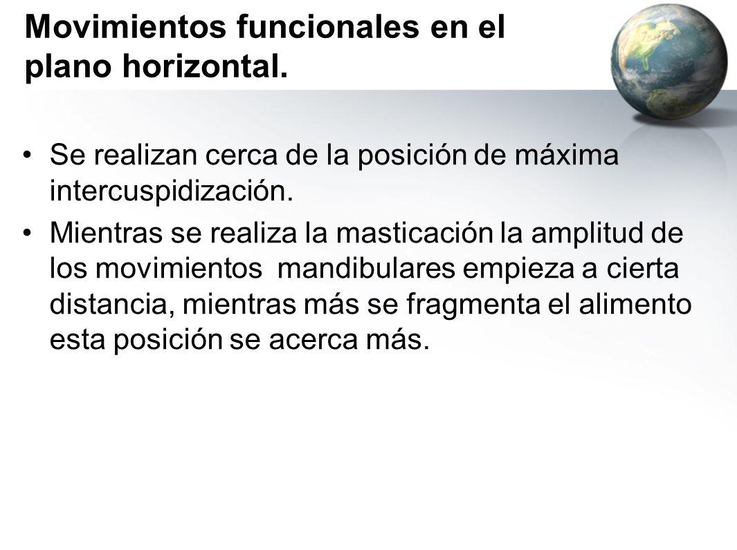 Movimientos funcionales en el plano horizontal. Se realizan cerca de la posición de máxima intercuspidización. Mientras se realiza la masticación la a