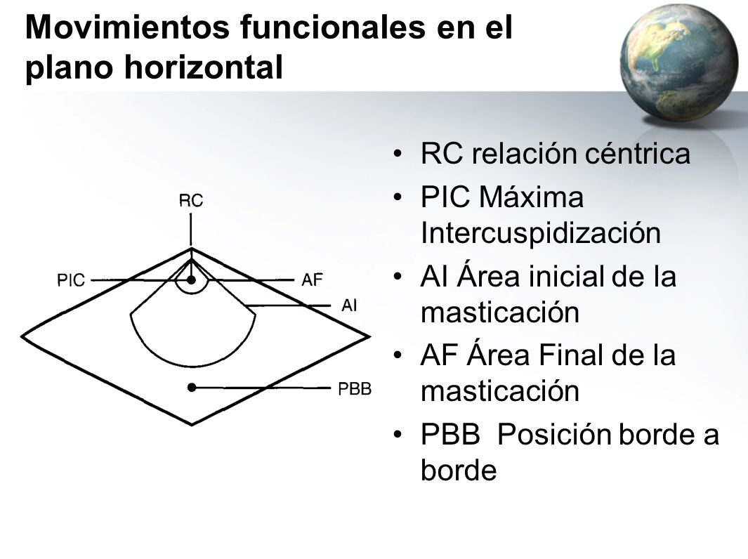 Movimientos funcionales en el plano horizontal RC relación céntrica PIC Máxima Intercuspidización AI Área inicial de la masticación AF Área Final de l