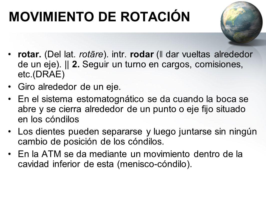 MOVIMIENTO DE ROTACIÓN rotar. (Del lat. rotāre). intr. rodar ( ǁ dar vueltas alrededor de un eje). || 2. Seguir un turno en cargos, comisiones, etc.(D