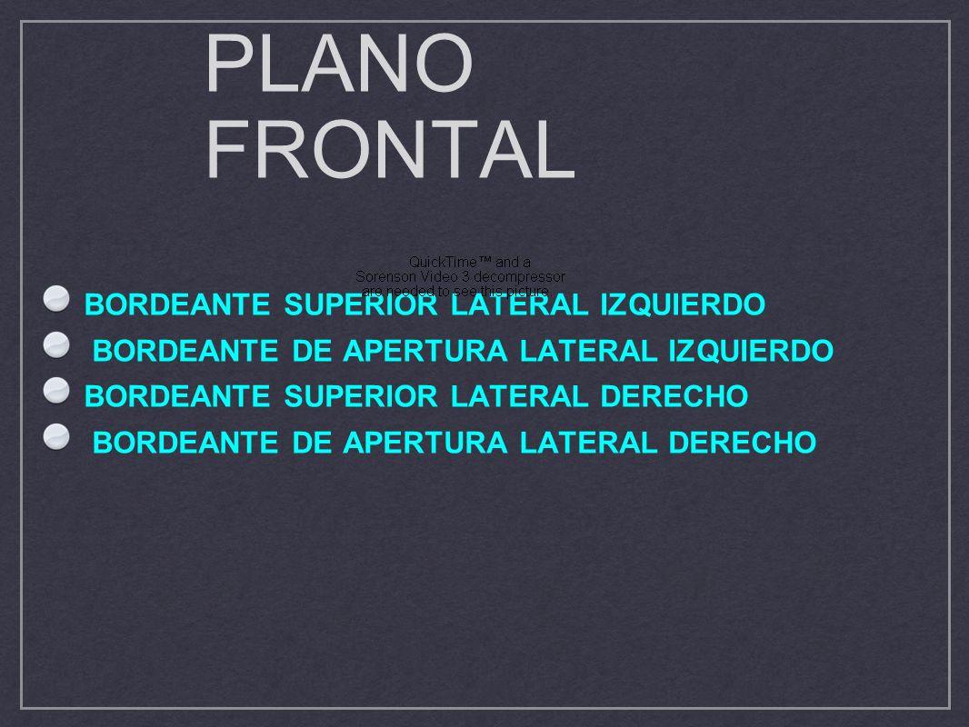 PLANO FRONTAL BORDEANTE SUPERIOR LATERAL IZQUIERDO BORDEANTE DE APERTURA LATERAL IZQUIERDO BORDEANTE SUPERIOR LATERAL DERECHO BORDEANTE DE APERTURA LA