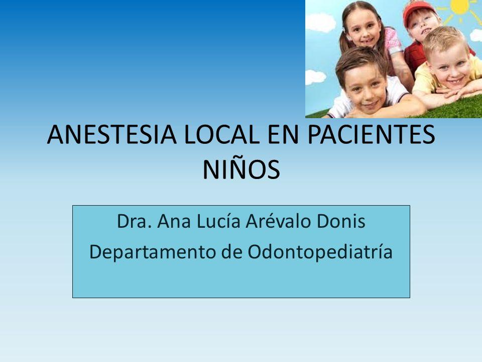ANESTESIA LOCAL EN PACIENTES NIÑOS Dra. Ana Lucía Arévalo Donis Departamento de Odontopediatría