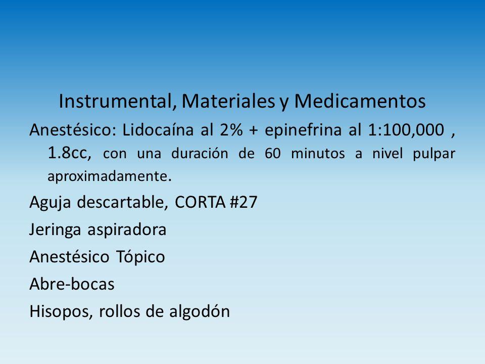 Instrumental, Materiales y Medicamentos Anestésico: Lidocaína al 2% + epinefrina al 1:100,000, 1.8cc, con una duración de 60 minutos a nivel pulpar ap