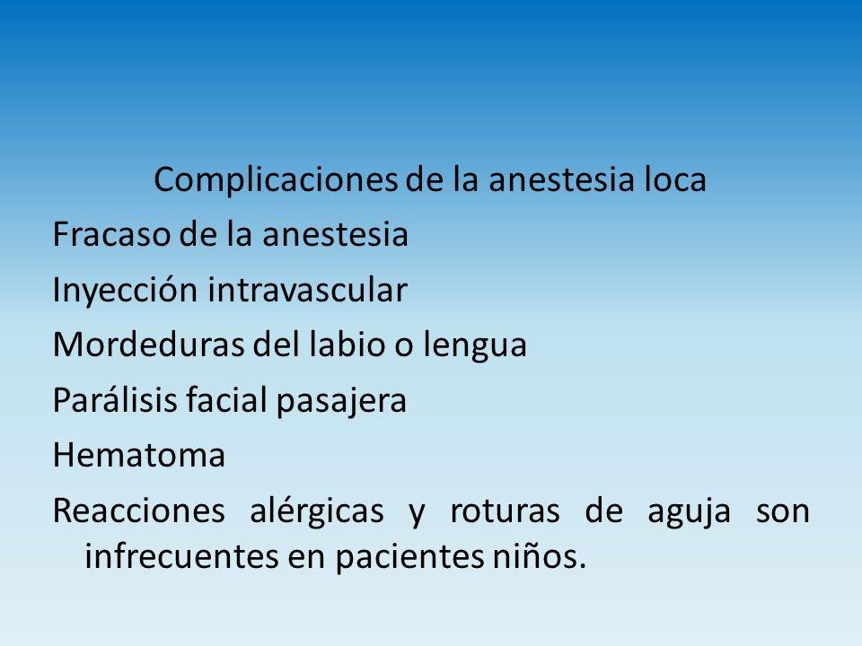 Complicaciones de la anestesia loca Fracaso de la anestesia Inyección intravascular Mordeduras del labio o lengua Parálisis facial pasajera Hematoma R