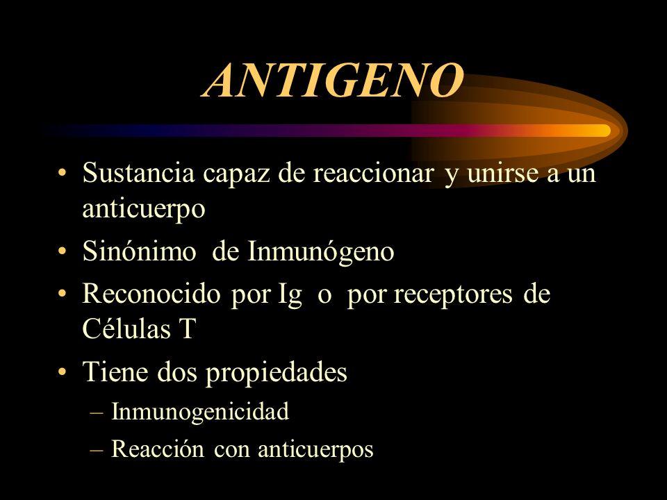 ANTIGENO Sustancia capaz de reaccionar y unirse a un anticuerpo Sinónimo de Inmunógeno Reconocido por Ig o por receptores de Células T Tiene dos propi