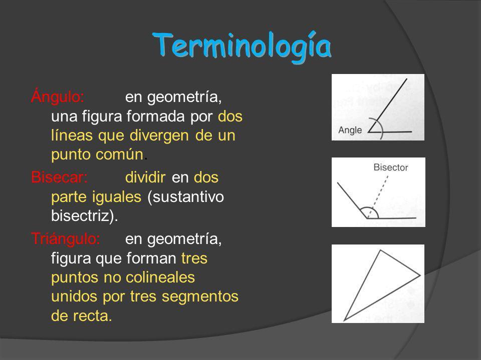 Terminología Ángulo:en geometría, una figura formada por dos líneas que divergen de un punto común. Bisecar:dividir en dos parte iguales (sustantivo b