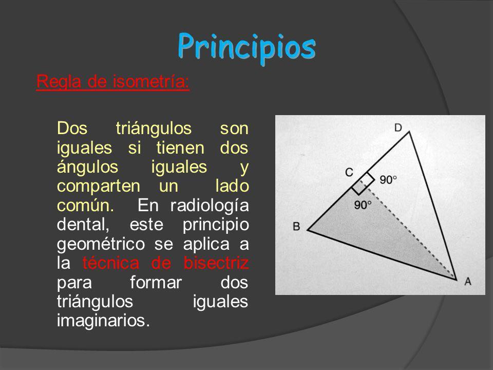 Principios Regla de isometría: Dos triángulos son iguales si tienen dos ángulos iguales y comparten un lado común. En radiología dental, este principi
