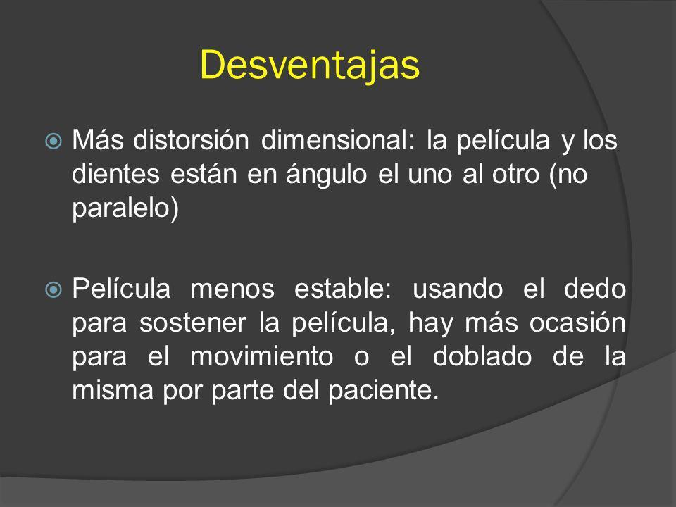 Desventajas Más distorsión dimensional: la película y los dientes están en ángulo el uno al otro (no paralelo) Película menos estable: usando el dedo