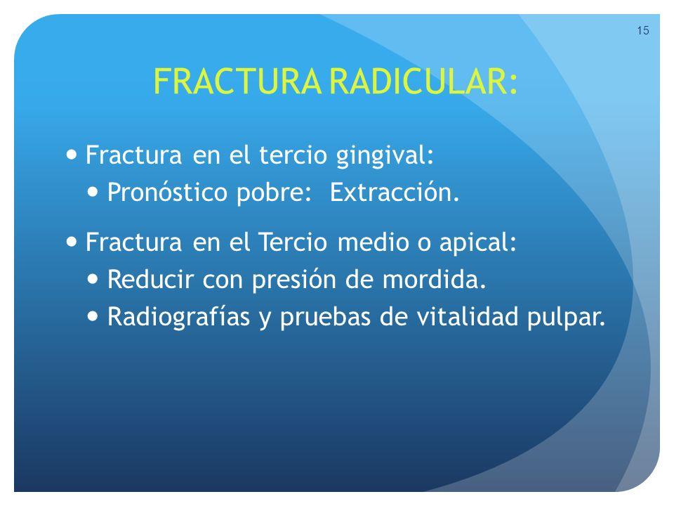 FRACTURA RADICULAR: Fractura en el tercio gingival: Pronóstico pobre: Extracción. Fractura en el Tercio medio o apical: Reducir con presión de mordida