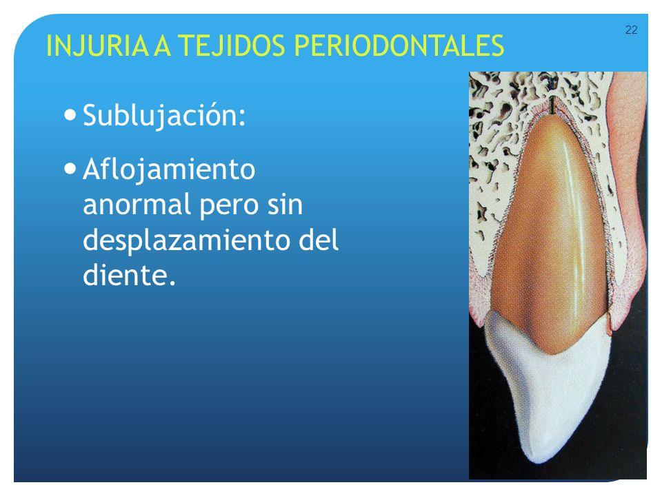 INJURIA A TEJIDOS PERIODONTALES Sublujación: Aflojamiento anormal pero sin desplazamiento del diente. 22