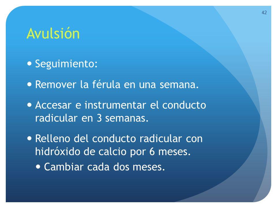Avulsión Seguimiento: Remover la férula en una semana. Accesar e instrumentar el conducto radicular en 3 semanas. Relleno del conducto radicular con h