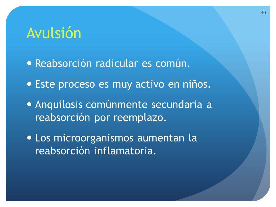 Avulsión Reabsorción radicular es común. Este proceso es muy activo en niños. Anquilosis comúnmente secundaria a reabsorción por reemplazo. Los microo