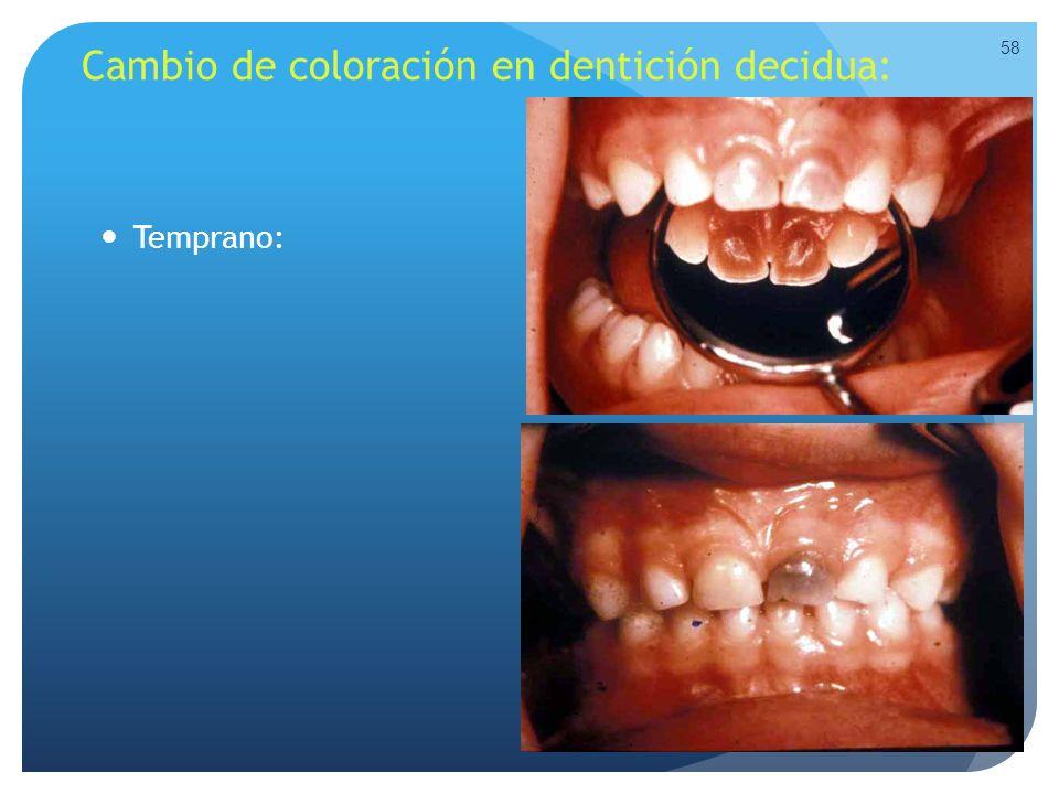 Cambio de coloración en dentición decidua: Temprano: 58