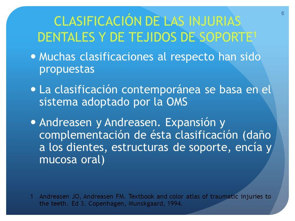 CLASIFICACIÓN DE LAS INJURIAS DENTALES Y DE TEJIDOS DE SOPORTE 1 Muchas clasificaciones al respecto han sido propuestas La clasificación contemporánea