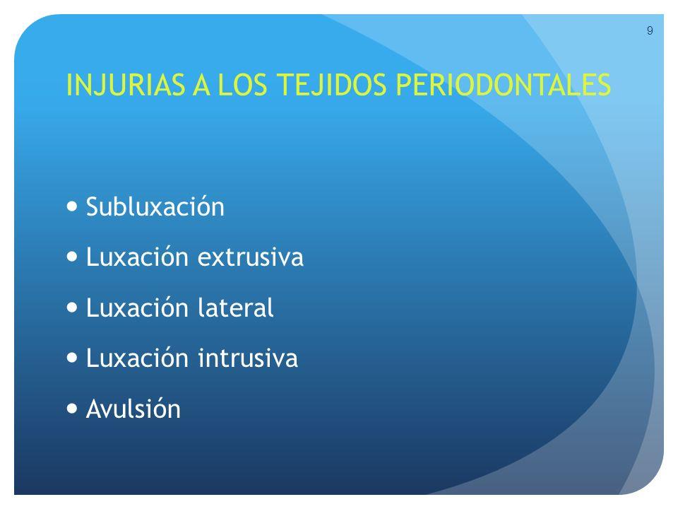 Clasificación de injurias dentales: Tejidos blandos Extra-orales.
