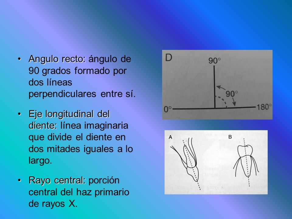 Angulo recto:Angulo recto: ángulo de 90 grados formado por dos líneas perpendiculares entre sí. Eje longitudinal del diente:Eje longitudinal del dient