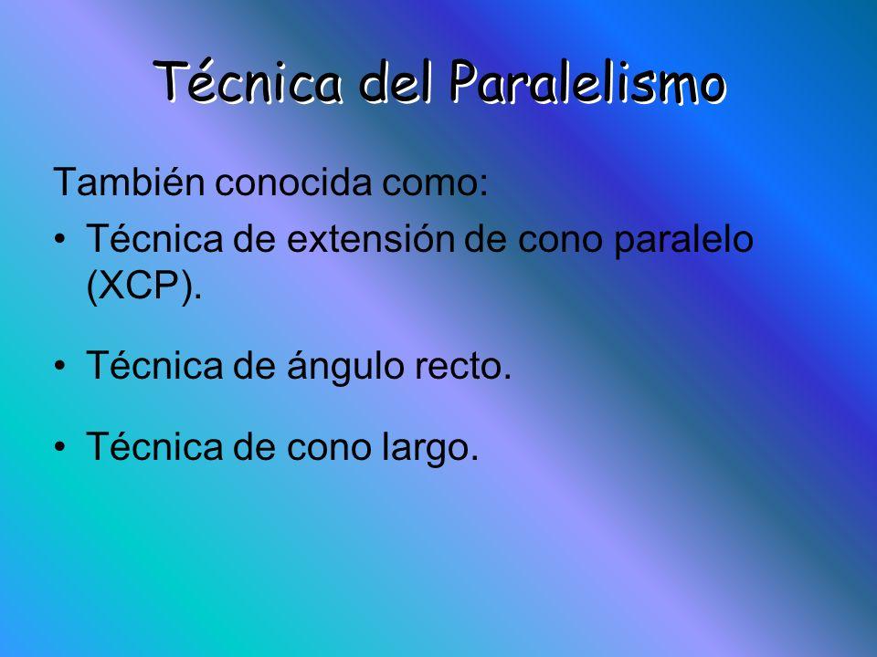 Técnica del Paralelismo También conocida como: Técnica de extensión de cono paralelo (XCP). Técnica de ángulo recto. Técnica de cono largo.