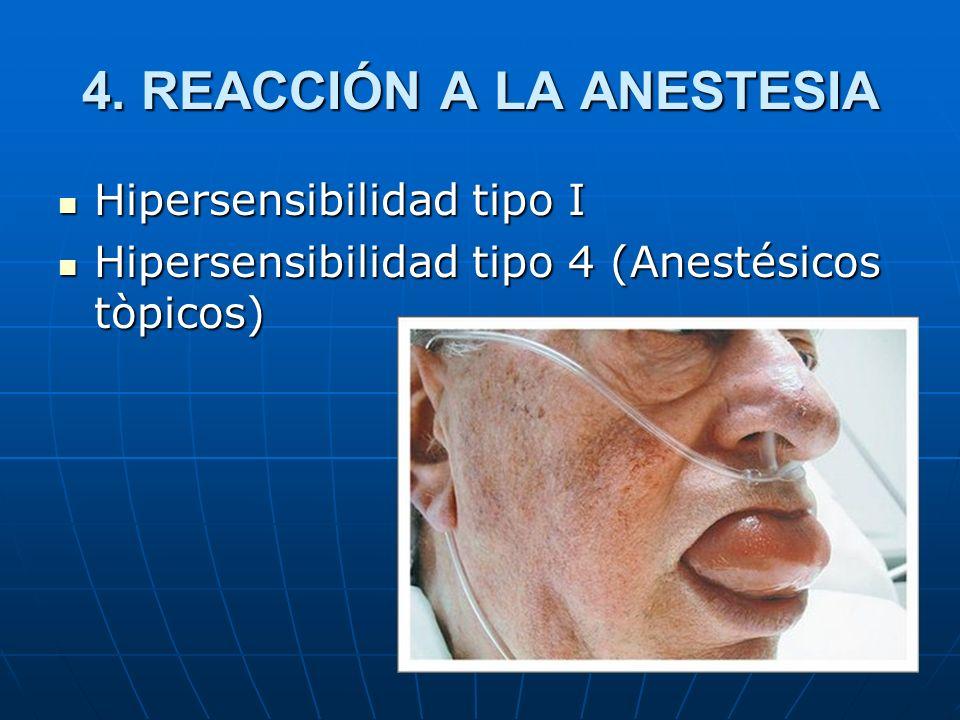 4. REACCIÓN A LA ANESTESIA Hipersensibilidad tipo I Hipersensibilidad tipo I Hipersensibilidad tipo 4 (Anestésicos tòpicos) Hipersensibilidad tipo 4 (