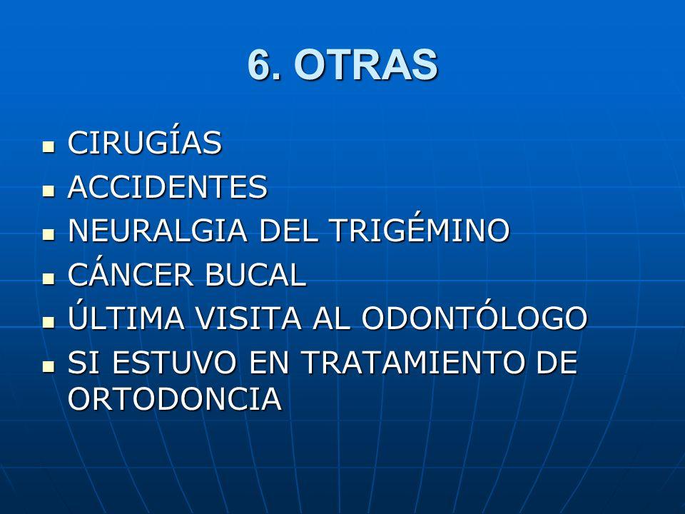 6. OTRAS CIRUGÍAS CIRUGÍAS ACCIDENTES ACCIDENTES NEURALGIA DEL TRIGÉMINO NEURALGIA DEL TRIGÉMINO CÁNCER BUCAL CÁNCER BUCAL ÚLTIMA VISITA AL ODONTÓLOGO
