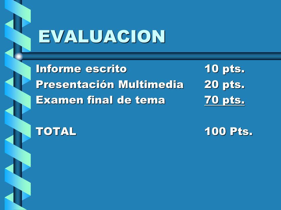 EVALUACION Informe escrito10 pts. Presentación Multimedia20 pts. Examen final de tema70 pts. TOTAL100 Pts.
