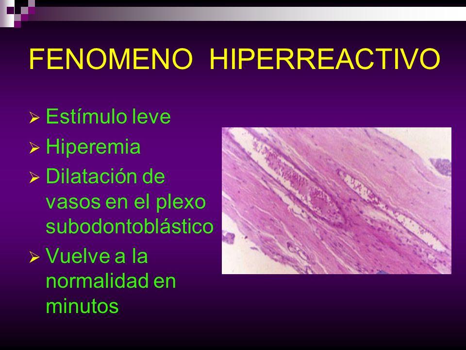 FENOMENO HIPERREACTIVO Estímulo leve Hiperemia Dilatación de vasos en el plexo subodontoblástico Vuelve a la normalidad en minutos