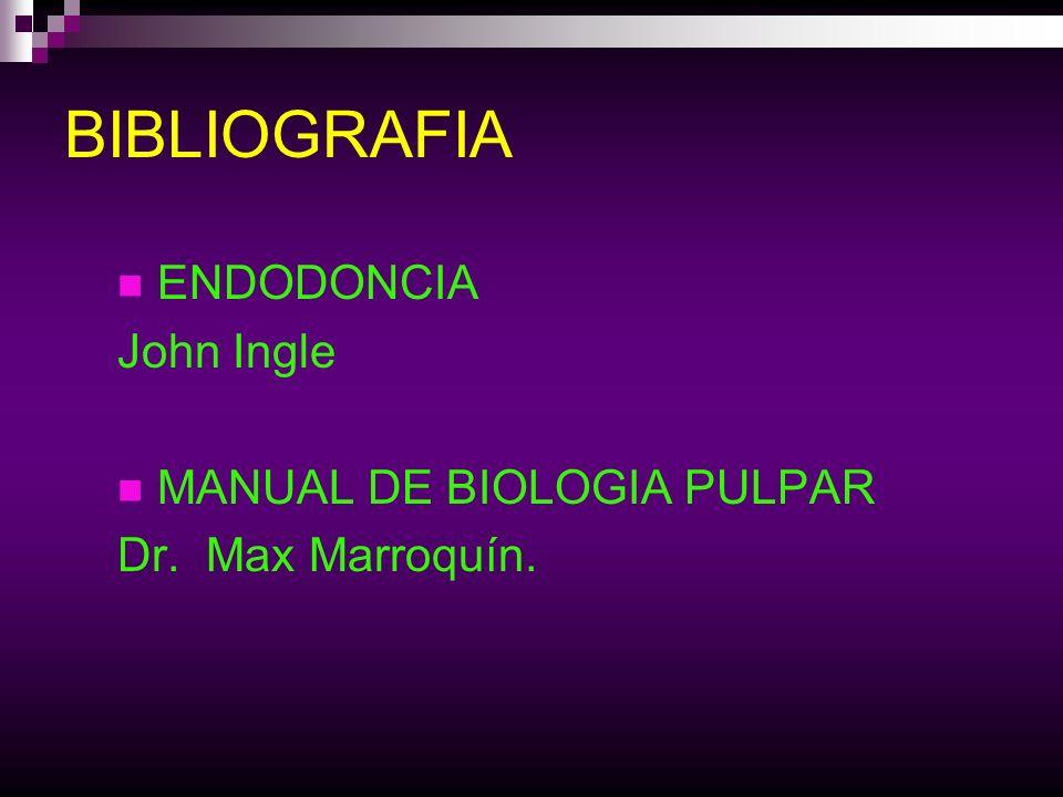 BIBLIOGRAFIA ENDODONCIA John Ingle MANUAL DE BIOLOGIA PULPAR Dr. Max Marroquín.