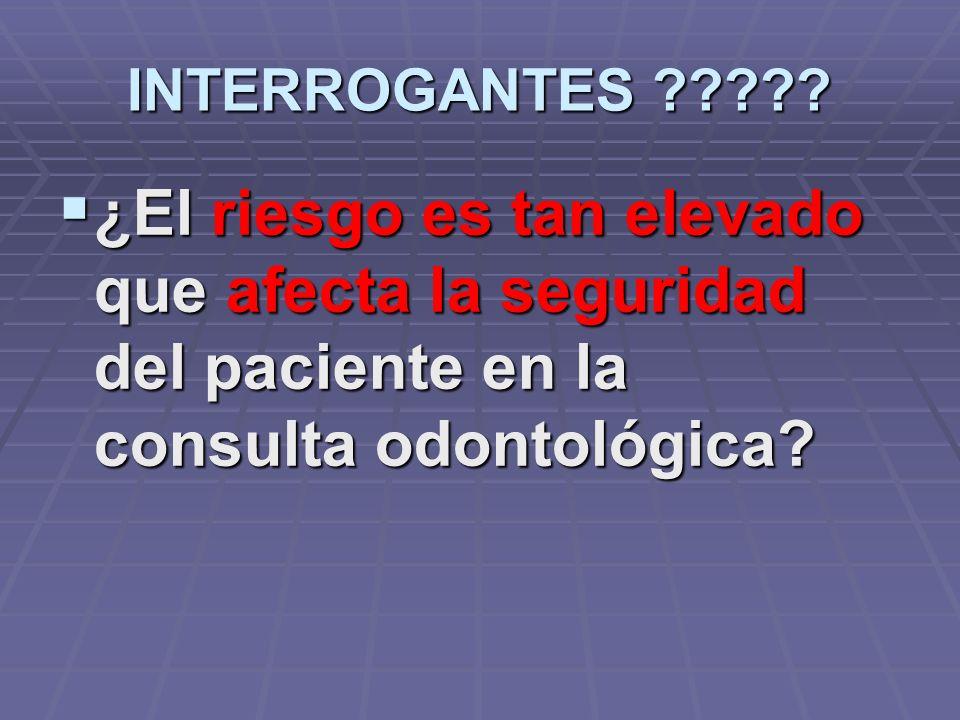 INTERROGANTES ????? Si el paciente presenta un riesgo superior al normal Si el paciente presenta un riesgo superior al normal ¿qué modificaciones tera