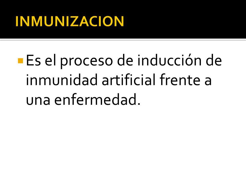 Es el proceso de inducción de inmunidad artificial frente a una enfermedad.
