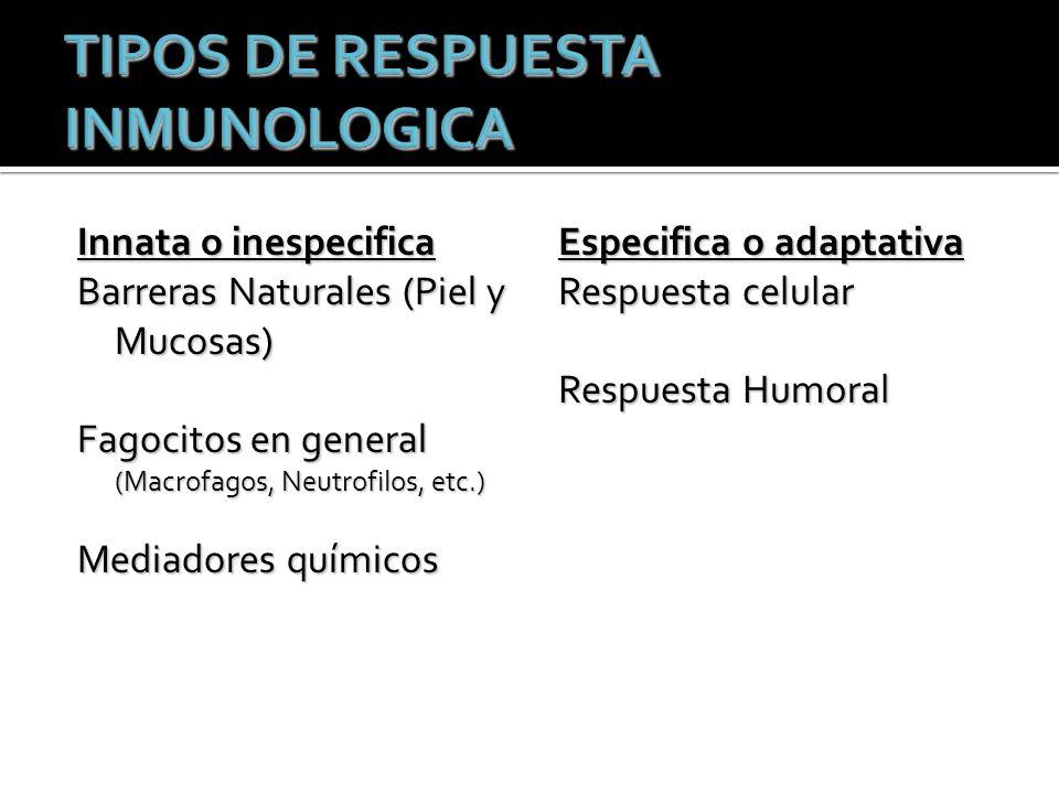 Innata o inespecifica Barreras Naturales (Piel y Mucosas) Fagocitos en general (Macrofagos, Neutrofilos, etc.) Mediadores químicos Especifica o adaptativa Respuesta celular Respuesta Humoral