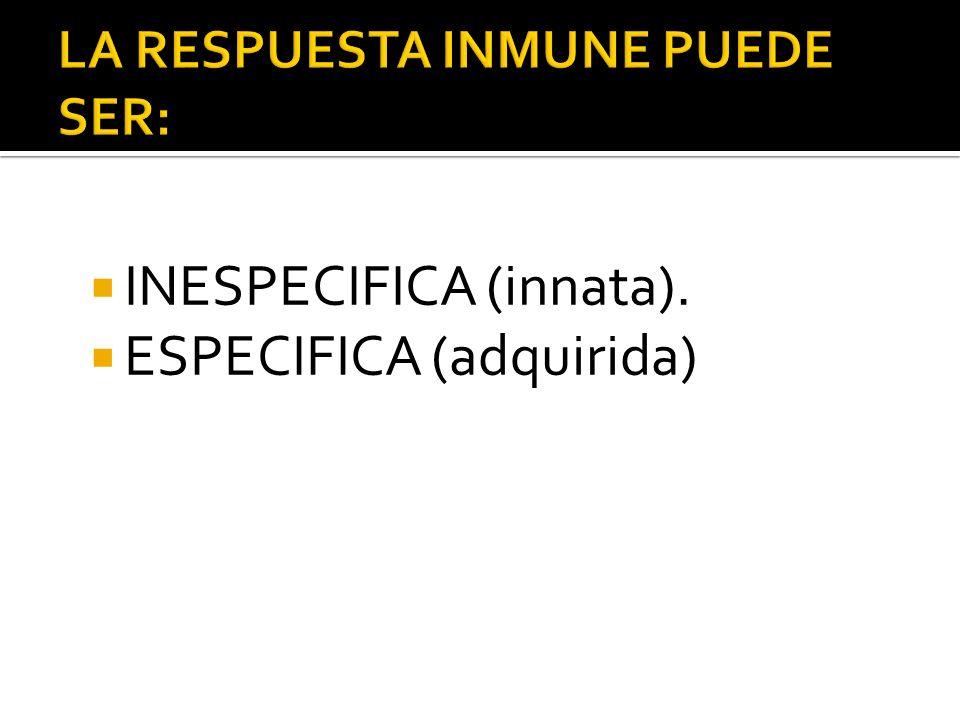 INESPECIFICA (innata). ESPECIFICA (adquirida)