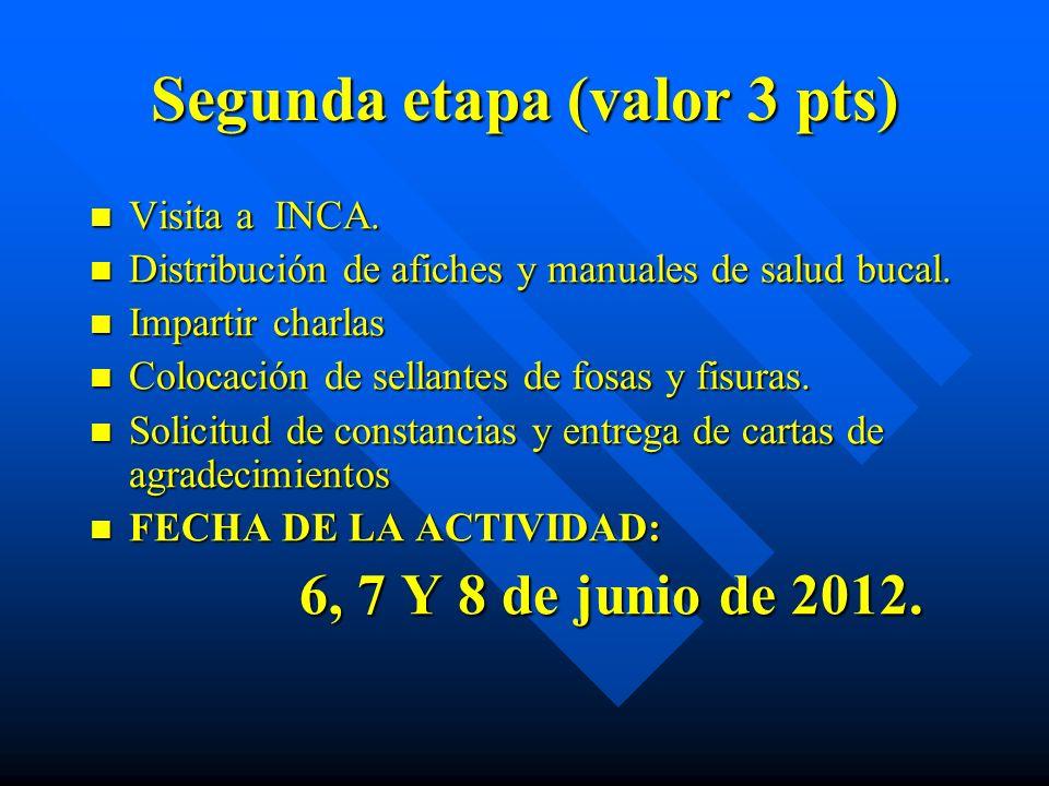 Segunda etapa (valor 3 pts) Visita a INCA. Visita a INCA. Distribución de afiches y manuales de salud bucal. Distribución de afiches y manuales de sal